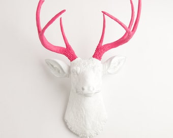 Faux Taxidermy Head, The Boris - White W/ Pink Antlers Resin Deer Head Mount - Stag Resin By White Faux Taxidermy Animal Wall Decor