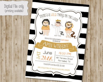 Where The Wild Things Are Baby Shower Invitation, Wild Things Baby Shower, Wild Rumpus Invitation, King of all Wild Things, Wild Things
