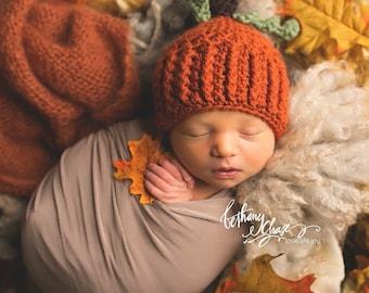 Newborn Photo Prop, Crochet Pumpkin Hat, Knit Pumpkin Hat, Baby's First Halloween