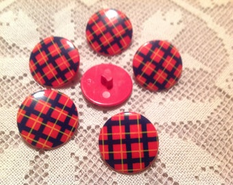 Set of six vintage buttons Scottish on red background