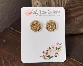 12mm gold druzy earrings in silver, druzy studs, druzy earrings, silver druzy, gold druzy, gold druzy earrings, bridesmaid druzy earrings