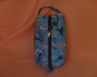 Swordfish Bag, Swordfish Batik, Batik Ditty Bag, Blue Dopp Kit, Toiletry Bag, Pencil Case, Wet Sack, Gifts for Fishermen - Choose Size