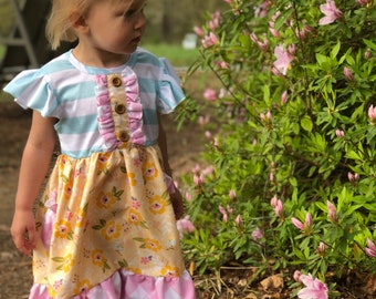 Girl dress. Inspired by Matilda Jane. Pastel Colors. Sizes 2t, 3t, 4, 5, 6 Spring Summer