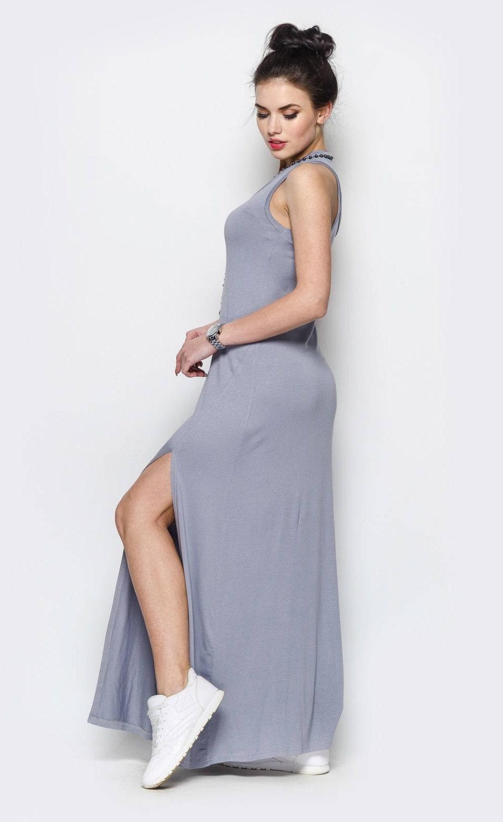 Graue lange Boho Kleid für Frauen Sommer Kleid Maxi Kleid
