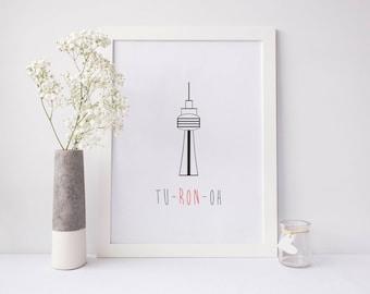 Toronto Printable, toronto digital print, toronto wall art, city print, cn tower printable, canada printable, canada print, funny print