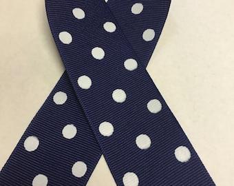 """1.5"""" Grosgrain Polka Dots Ribbon- Light Navy / White - Berwick Offray"""
