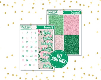 Emerald // Kit ADD ONS-Stickers for the EC Happy Planner Life planner