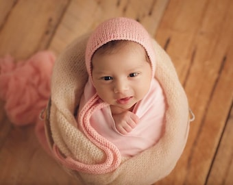 Newborn Girl Hat/ Pink Prop Hat/ Newborn Hat with Knit Ties/ Baby Girl Knit Hat/ Photography Prop/ Newborn Prop Hat/ Pink Girl Prop