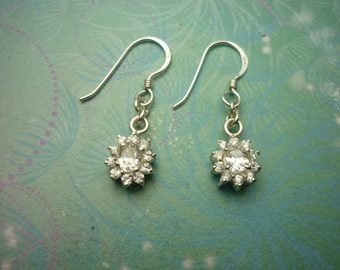 Vintage Sterling Silver Earrings - Flower Drops set with Cubic Zirconias