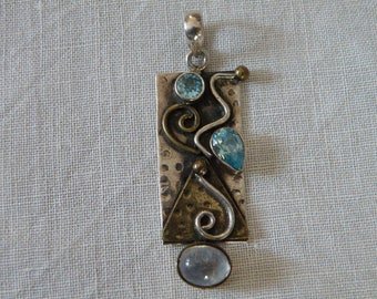 Modernist Sterling Silver Pendant with Moonstone and Topaz - marked 925