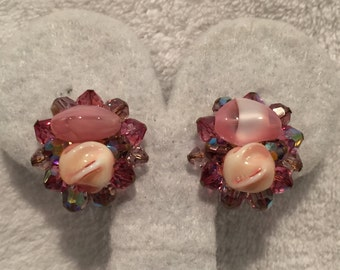 Hues of Pink Glass and Crystal Clip-on Earrings - CA 1950's - Item VC 129