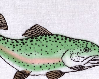 Fish Hand Embroidery Pattern, Rainbow Trout, Fishing, River, Lake, Pond, Fisherman, PDF