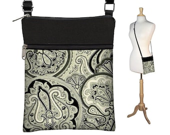 Sling Bag Shoulder Purse Cross Body Bag Small Travel Purse Zipper Fits eReaders  Vintage Paisley Onyx MTO