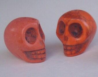 2 beads skull orange 13 x 12 mm - howlite