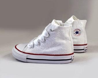 Custom Girls Converses -  Lace Converses --White lace Converses -- Girls Converse High Top  - Wedding Converse