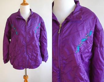 90s Purple and Turquoise Embroidered Windbreaker - Tracksuit Jacket - Purple Windbreaker - 1990s Windbreaker - Gaudy Grandma - Size Large