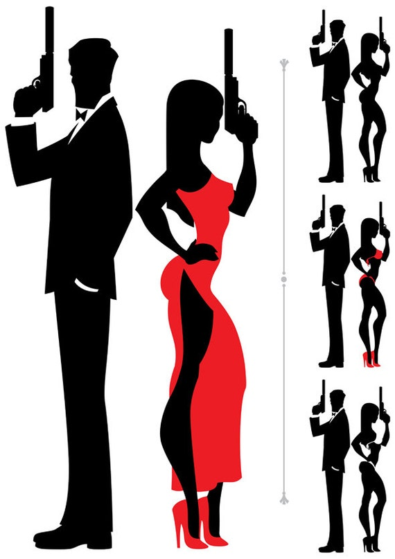 spy couple vector cartoon illustration secret agent rh etsy com female secret agent clipart secret agent badge clipart