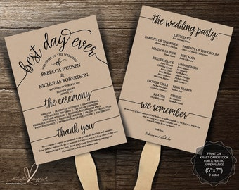 Best day ever wedding Program FAN template, editable PDF template, Ceremony order, in rustic theme, in rustic typography design (TED410_22F)