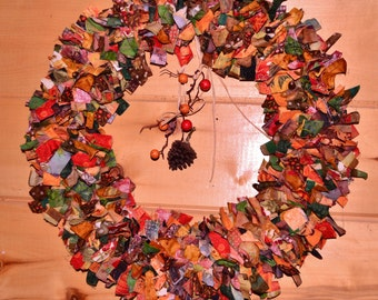 Batik Fall Wire Wreath, Home decoration with pine cone and faux berries raffia string center piece and real acorns on wreath