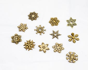 shapes of Christmas - SNOWFLAKES - wood - height 4 cm