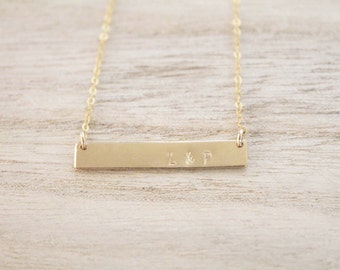 Bar necklace, personalized bar necklace, gold bar, stamped bar, gold bar necklace, dainty necklace, layering necklace, personalized gift