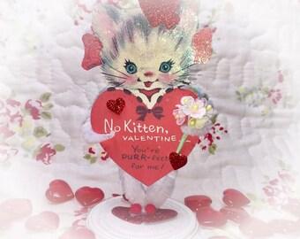 Kitty Valentine's Day Decor Vintage Style Bump Chenille Figure Shabby Chic Paper Doll Figurine Paperdolls Cake Topper Kitten Cat Centerpiece