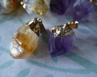 Shop Sale.. 1 5 10 pc, Citrine or AMETHYST POINT Charm Pendant, Raw Quartz Point, Silver or Gold Edged Top, 25-40 mm, wholesale ap70.8 solo