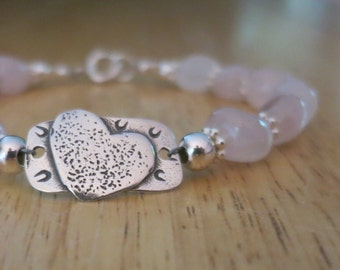 rose quartz smooth nuggets bracelet with sterling silver heart tag