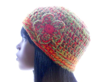Upcycled Beanie Hat, Avocado and Orange Hat, Women's Crochet Hat, Wool - Blend Beanie with Flowers, Small to Medium Size