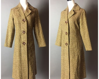 Vintage 70s pea coat / 1970s coat / vintage pea coat / wool tweed coat / brown coat / 8300