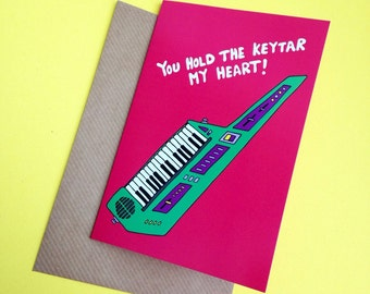 Keytar 80s Valentine Valentine's Day / Anniversary / Love A6 Greetings Card From Original Illustration Pun Funny Synth Keyboard Nerd Music
