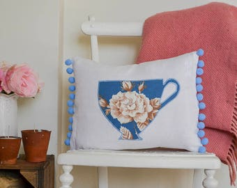 Tea cup cushion with pompom trim - the perfect gift for tea lovers | Floral tea cup pillow in rare vintage Sanderson fabric | Tea gift