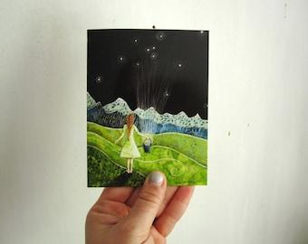 Gathering Stars, illustrated blank card, rustic summer spring, glossy finish