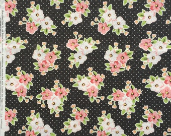 Olive's Flower Market Nosegay black Lella Boutique moda fabric FQ or more