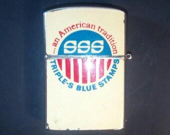 Vintage Cigarette Lighter, Penguin Lighter, SSS triple-S Blue Stamps, Refillable Lighter, Cigar lighter