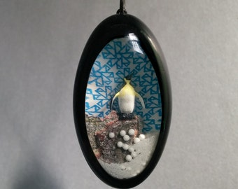 Contemplative Penguin Hollow Diorama Necklace