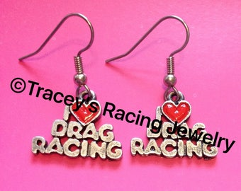 I Love Drag Racing earring IDR-2  Tracey's Racing Jewelry Exclusive item