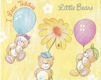 set of 2 napkins 33 cm / 33 cm Teddy bear pattern new