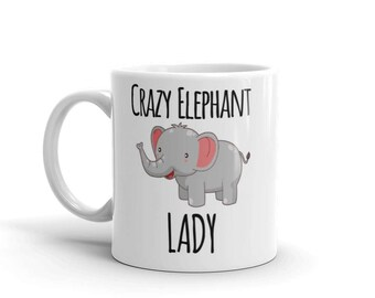 Crazy Elephant Lady Mug Funny Animal Zoo Lover Beware Gift Coffee Tea Cup New