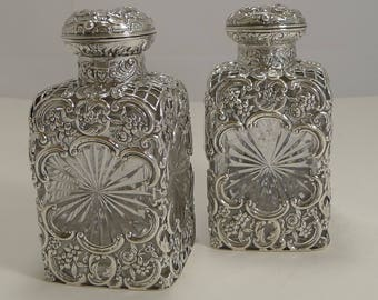 Finest Pair Victorian Sterling Silver and Cut Crystal Perfume Bottles by William Comyns