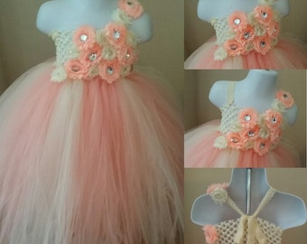 Peach and Ivory Tutu Dress - Ivory Top - Flower Girl Dress