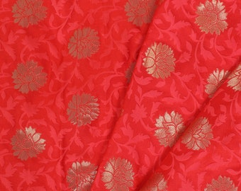 Golden Floral Design On Pink Brocade Silk Fabric-8259