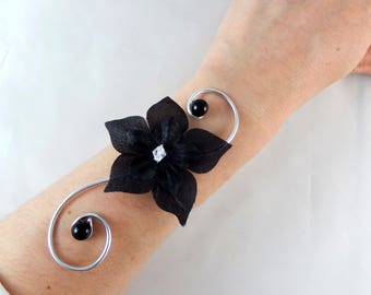 Matt - Black wedding flower wedding Bracelet