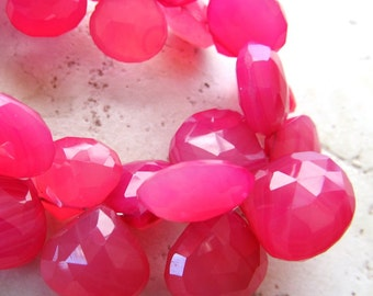 Strawberry Pink Chalcedony Faceted Hearts 16mm - 4 inch Strand