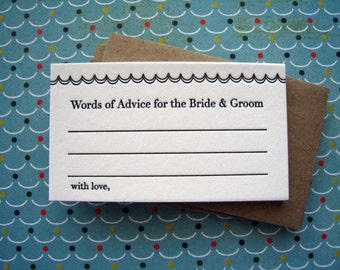 Letterpress Advice Cards - scalloped advice bride and groom (pack of 10)