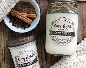Cozy Nights Soy Candle | Hand Poured | Mason Jar Candle | Cozy Scented Candle