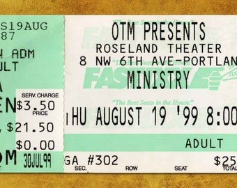 Ministry  Concert Ticket Stub, Portland OR 1999