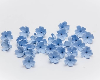10 Lilac beads, blue flowers polymer clay beads jewelry, blue flowers 9-10mm