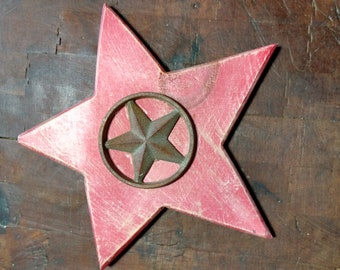 Wooden Star with Metal star with Cirlce