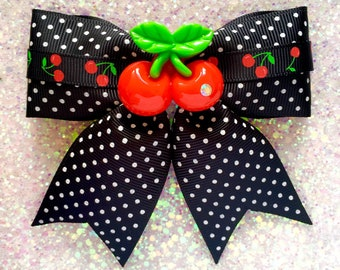 Pinup Pretty Cherries and Dots Hair Bow - Black - Rockabilly - 50s - Retro